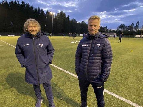 STORE FORVENTNINGER: Rådes Knut Erik Berg (t.v.) og Morten Skagevang håper på fullt trøkk i idrettsparken lørdag, med tre poeng over 1000 tilskuere.