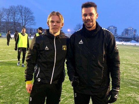 PRØVER SEG: spissen Sebastian Pedersen (til venstre) deltok på sin første MFK-trening torsdag kveld og kan fort bli nykommer i klubben - på lik linje med Emmanuel Troudart som signerte for MFK på nyttårsaften.
