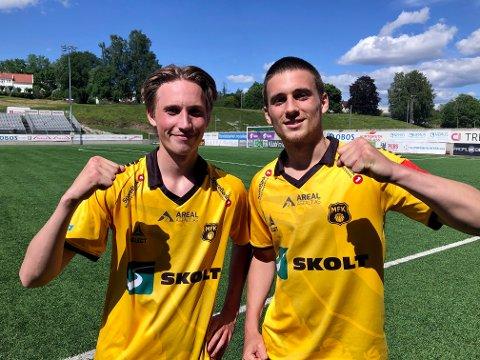 NYKOMMERE MED TEFT: Nykommerne Uno Pedersen (til venstre) og Oliver Midtgård sto bak de to MFK-scoringene mot Asker og sikret dermed en kjærkommen seier før serieåpningen mot Alta til helgen.