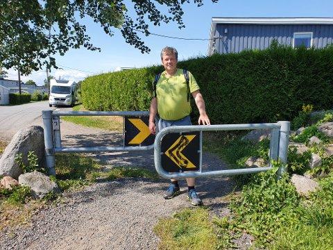 TRANGT: På sykkelstien mellom Ekholt Hageby og Perstubben er det et eksempel på hvor man ikke like lett kan sykle gjennom.