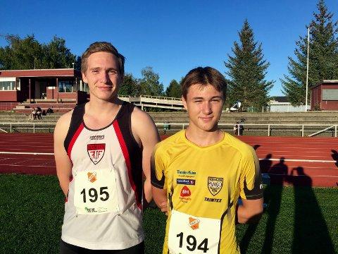 NORGESTOPP: Bastian Elnan Aurstad, Steinkjer FIK (til høyre) løp en gnistrende 300 meter under seriestevnet i Overhalla. Stig Ove Dahlen Selnes var tilbake i konkurranse etter skade, og leverte småpene 15,19 i kuleringen.