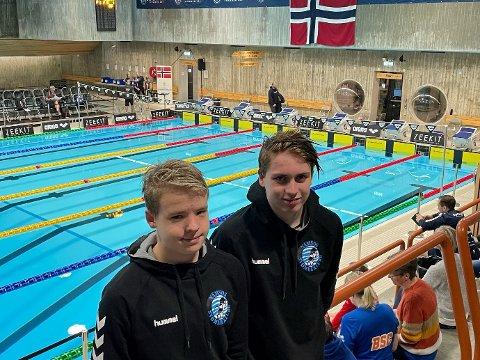 SVØMTE FORT: Marcus Tvete (til venstre) og Noah Petterson Laugen svømte begge godt under helgas Ungdomsmesterskap i svømming i Stavanger.