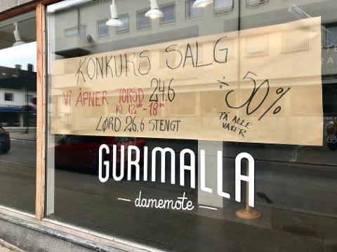 KONKURSSALG: Guri Malla Damemote AS er konkurs, og torsdag startet konkurssalget i klesbutikken.