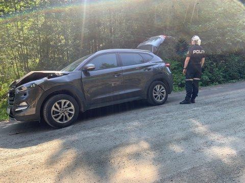 TRAFF LASTEBIL: En SUV personbil fikk store skader i fronten da den kolliderte med en lastebil på Løddingsvegen mellom Sørenget og Botnan i Namsos kommune. Føreren kom ikke til skade.