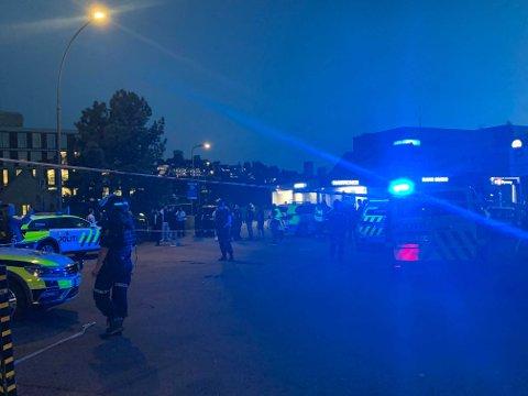 Det var mange politipatruljer ved Brynseng T-banestasjon mandag kveld.