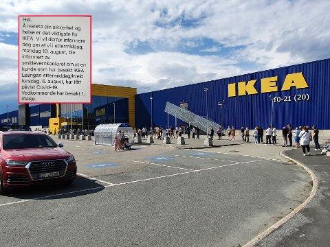 Det var stor pågang på IKEA Leangen i helga, men god avstand i køa. Innfelt er meldingen de ansatte fikk.