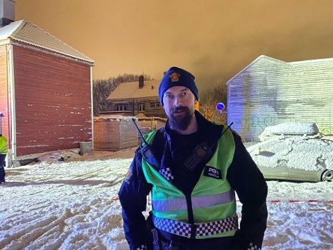 Politiets innsatsleder, Øystein Sund, på stedet.