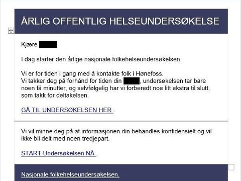 FALSK: FHI advarer mot denne undersøkelsen. Foto: Skjermdump