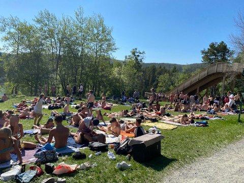 Det var mye folk som nøt solen ved Kyvannet onsdag – alt for mye folk, ifølge en forbipasserende turgåer.