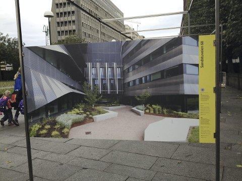 NÆRINGSBYGG: Sandstuveien 68 slik næringsbygget presenteres i utstillingen på Rådhusplassen.