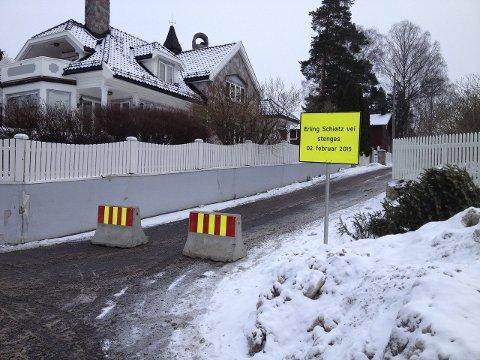 KLOSSER:  Erling Schiøtz vei ble stengt i februar. Foto: Aina Moberg