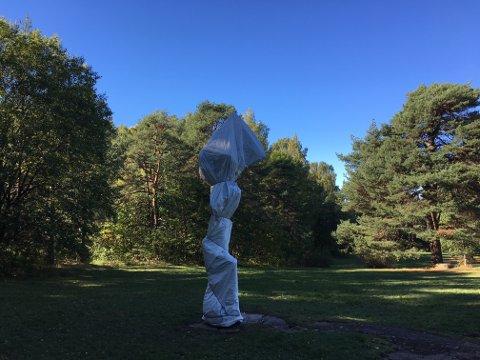 TRAVELER: Statuen til Tori Wrånes står foreløpig innpakket i plast. I morgen, onsdag 26. september, skal Traveler avdukes. Oppmøte i Havnehagen. Foto: Privat
