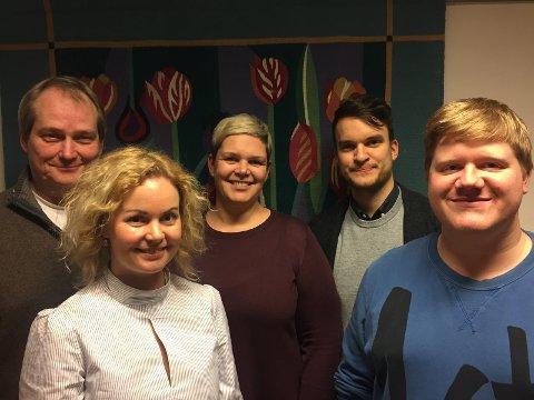 Nyvalgt styre i Nordstrand Venstre. Fra venstre: Jøran Aulin-Jansson, Anne Marit Kielland Juel, Catrine Fladsrud Vold, Audun Gotaas Bonde og Olav Persson Ranes. Torild Skogsholm var ikke tilstede.