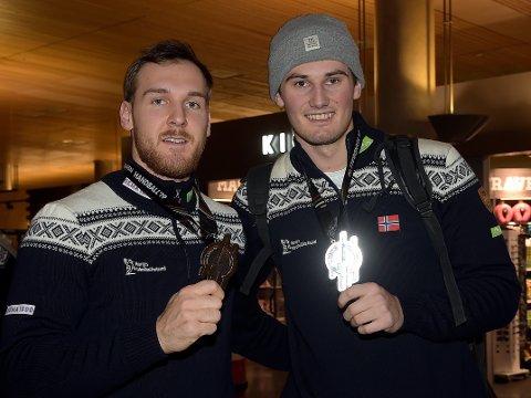 VM-SØLV: Christian O'Sullivan og Magnus Abelvik Rød landet mandag kveld på Gardermoen med VM-sølvet i bagasjen.