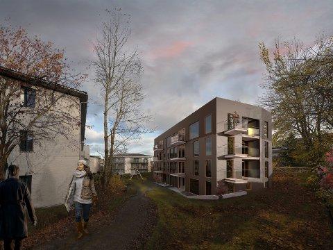 SLIK KAN DET BLI: Slik ser Brattlikollen Utvikling for seg den nye boligblokken i Sandstuveien 41. Blokkene i Steingrims vei sees til venstre og T-banelinjen skimtes til høyre. Illustrasjon: Tag Arkitekter