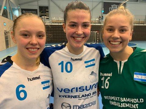 TROR PÅ SERIEGULL: Nora Asbjørnsen (venstre), Iben Helland Flø og Benedikte Jørgensen Lunde har stor tro på at Nordstrand vinner sin avdeling i 2. divjson.
