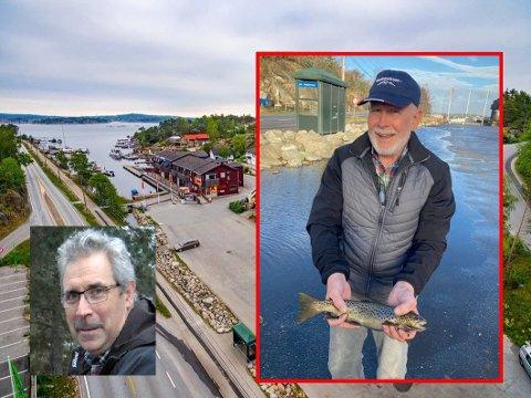 FISKEOPPLEVELSE: Helge Viken fra Munkelia til høyre og redningsmann Kjell Amundsen med fisken de fant på parkeringsplassen på Hvaler.