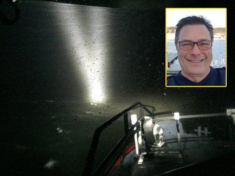 Egill Elvestad deltok i det omfattende søket natt til lørdag. Han og mannskapet fant én av de savnede. Bildet viser forholdene som besetningen måtte jobbe under.