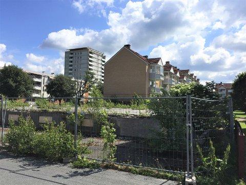 BRANNTOMT: Tomten i Våronnveien 17, som tidligere huset et næringsbygg, har nå ligget brakk i over 11 år. Arkivfoto: Nina Schyberg Olsen