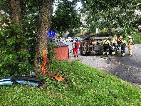 ENDTE I TRE: Bilen fikk store skader etter sammenstøtet med treet.