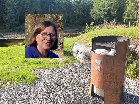SJOKKERT: Helga Gunnarsdóttir fant brukte bleier på en grill ved Nøklevann tidligere denne uka. Hun er lei av forsøpling i marka.
