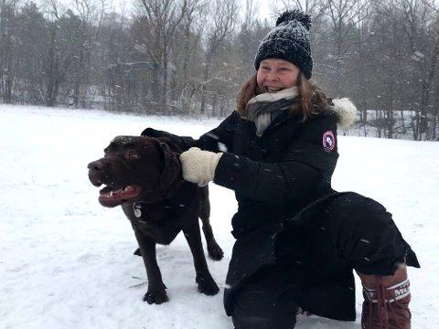 BRUN OG BLID: Den brune labradoren Lasse, og eier Ingunn Gjester (55) koser seg i Ekebergparken.