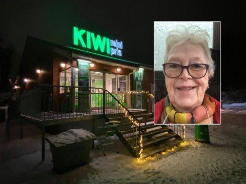 MÅ SETTE SEG I BILEN: Marit Aschehoug synes det er leit at Kiwi-butikken i nabolaget må legges ned.