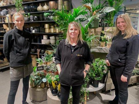Maria Sigurdson Paulsen (t. v), Anita Bjørneseth, June Hansen (t. h) og de andre medarbeiderne ved Floriss Lambertseter sørget for at bedriften fikk et godt år i fjor.