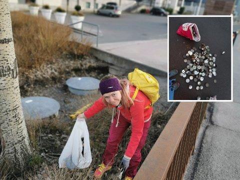 Silje Østby Thune plukker søppel til og fra jobb hver dag, og har et ønske om at flere bidrar til å plukke opp mer søppel.