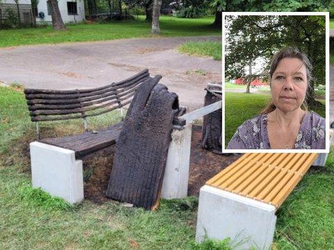 Høyenhall-beboer, Katherine Cooper, synes det er uakseptabelt å sette fyr på utemøbler, da det kan være livsfarlig hvis brannen sprer seg.