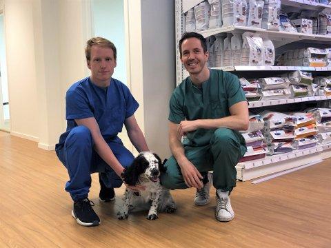 Klinikkansvarlig Kenneth Berg og sjefveterinær Christian Fantoft Magnesen gleder seg til å åpne dyreklinikk på Lambertseter. Her er de sammen med hunden Kira.