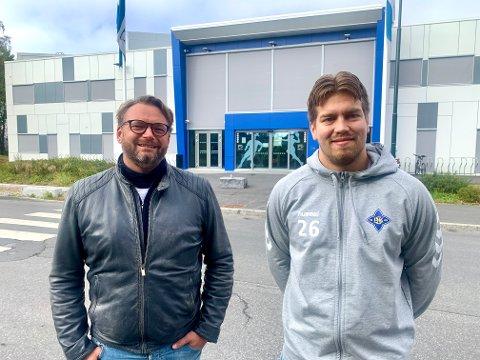 GLEDER SEG: Både sportslig leder Erik Johnsen (venstre) og kaptein Aksel André Strupstad gleder seg til å reise til Ukraina i helgen, og håper at de klarer å fylle Nordstrand Arena til neste helgs returkamp.