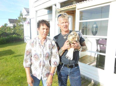 FUNN: Aud Olsen og Torstein Knutsen fant en skadet ørneunge ved Solligården. Sistnevnte klarte til slutt å fange den.