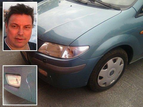 Runar Balto er glad for at politiet knep de som rygget på og bulket konas Mazda i Karasjok. (Foto: Privat. Montasje: Tor Kjetil Kristoffersen)