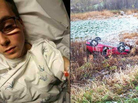 RUNDSTJÅLET: Mathias Jacobsen Williamsen (18) havnet på sykehuset i Harstad etter en trafikkulykke søndag ettermiddag. Da tok noen seg inn i bilvraket hans og stjal stereoanlegget.