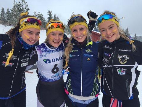 Synne Arnesen, Ingvild Ofstad, Johanne Heimdal og Agnethe Kaasen ble nummer seks på stafetten i junior-NM.