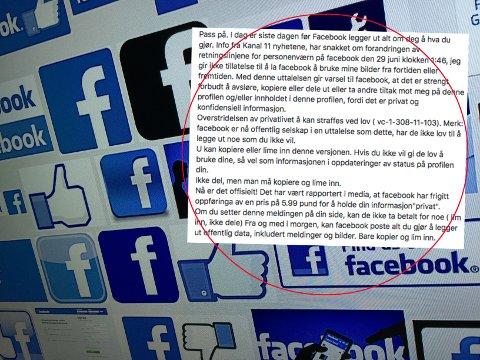Meldinger som denne florerer på Facebook, og flere lar seg lure til å tro at det påvirker giganten til å endre sine retningslinjer.
