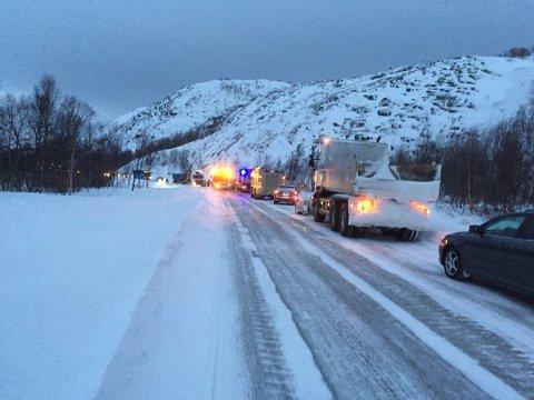 ULYKKE: Det har vært en trafikkulykke utenfor Kirkenes tirsdag morgen.