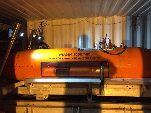 MINIUBÅT: Miniubåten Hugin ble brukt i søket. Svarene fra søket er ventet søndag morgen.
