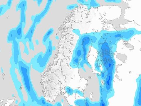 WOW: Meteorologene poengterer dette kartet - søndag morgen viser det nedbørsfritt i så godt som hele landet (Unnskyld Øst-Finnmark). (Faksimile(Meteorologene)