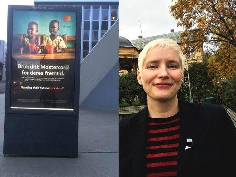 PROBLEMATISK: SV-politiker Ingrid Marie Kielland mener kommunestyret bør diskutere om det er greit å ha reklame som dette i offentlige rom.