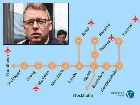 SKISSE: Slik ser Venstre-politiker Morten Skandfer (innfelt) for seg at en fremtidig jernbane til Tromsø og Harstad kan bli seende ut.