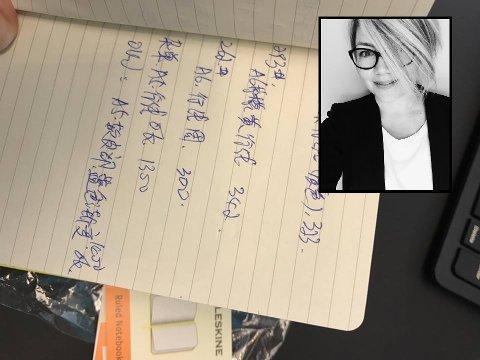 FIKK LITT EKSTRA FOR PENGENE: Da Nina Soleng bladde opp i sin tilsynelatende splitter nye notatblokk fra ARK fant hun flere sider med kinesisk skrift.