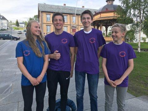 Regine Boglund (17), NicolayKnutsen (16), Maksim Golikov (14) og Markus Rystad (15) ser alle fram til å jobbe med eldre på sykehjem i 3 til 4 uker i sommer.