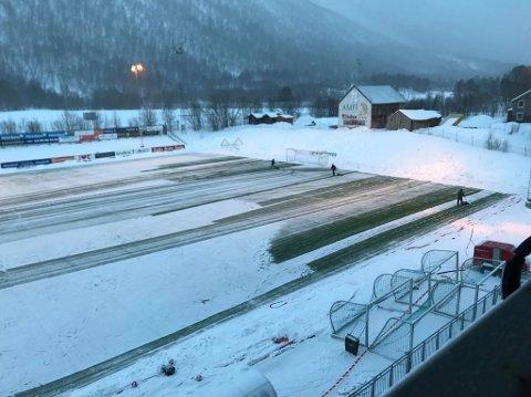 UTSATT: TUIL-arena fra generalprøven mot Alta søndag. Mandagens kamp blir utsatt. Foto: Anders Mp Hanssen