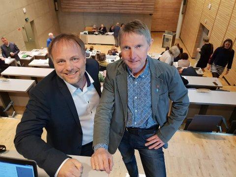 Pål Julius Skogholt (SV) og Jens Ingvald Olsen (Rødt)