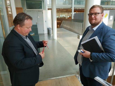 I HEMMELIG MØTE: Jarle Heitmann og Erlend Bøe