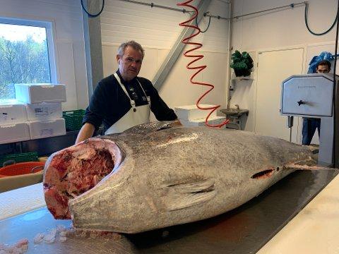 GIGANT: Det var denne giganten Lasse Rød og Dragøy Jekta bladde opp for. Her poserer Rød sammen med monster-fisken.
