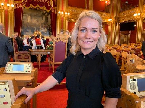 HØYTIDELIG ÅPNING: Sandra Borch representerer Troms på Stortinget, hvor Senterpartiet (Sp) har gjort et brakvalg. Onsdag var hun til stede under den høytidelige åpningen av Stortinget.
