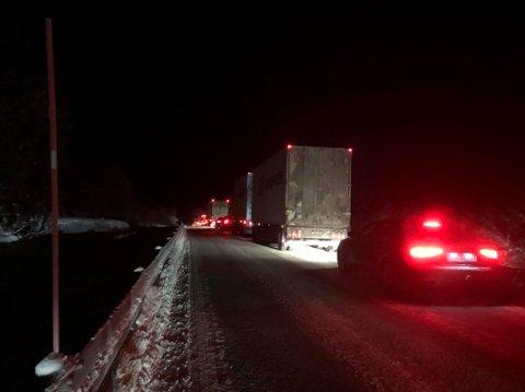 LANGE KØER: Trafikken står stille på E6 ved Fossbakken i Lavangen etter en trafikklulykke søndag kveld. Foto: Vilde Øines Nybakken, Fremover